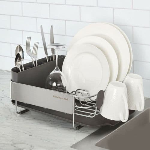 KitchenAid Compact Dishrack with Stainless Steel Panel Grey
